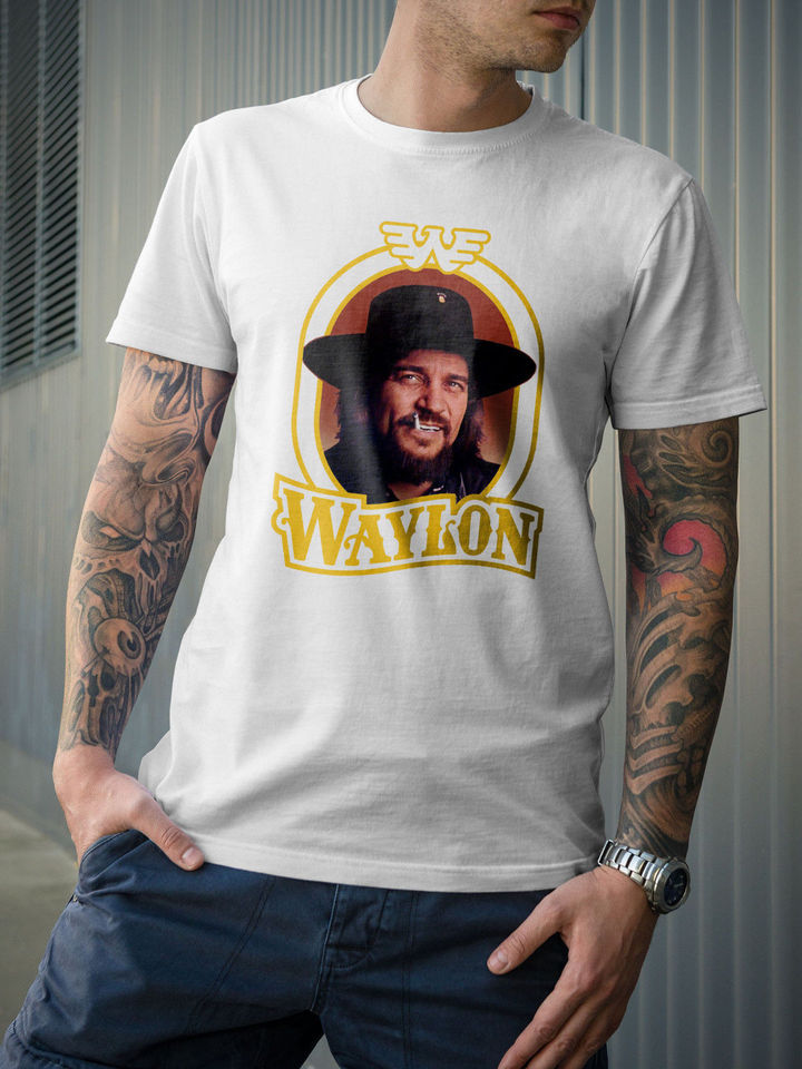 BEST Waylon Jennings Men/'s Black T-shirt USA size S-5XL