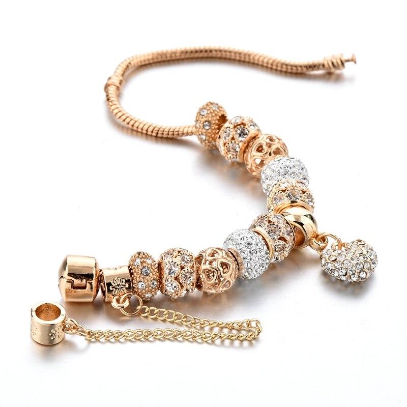 ATTRACTTO Luxury Crystal Heart Charm Bracelets&Bangles Gold Bracelets For Women Jewellery Pulseira Feminina Bracelet Sbr170020 3
