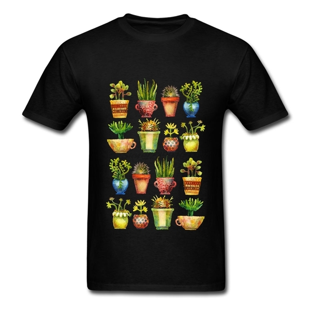 Personality Short Sleeve 100 % Cotton Succulents All in A Row Men Cotton T Shirt XXXL Male T Shirt