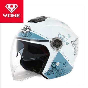 2019 New Summer Moto Racing Helmets YOHE Double lens Motorcycle Helmets Half Face Motorbike Helmet Made Of ABS and PC Visor Lens