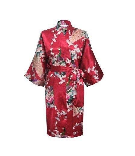 2014 Fashion Trends Burgundy Women's Silk Sleepwear Soft Lounge Bathrobe Night Gown Free Shipping Size S M L XL XXL XXXL