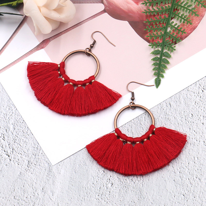Exknl Long Vintage Fringed Drop Tassel Earrings Women Bohemian Round Big Earrings Ethnic Party Dangle Earrings Fashion Jewelry 8
