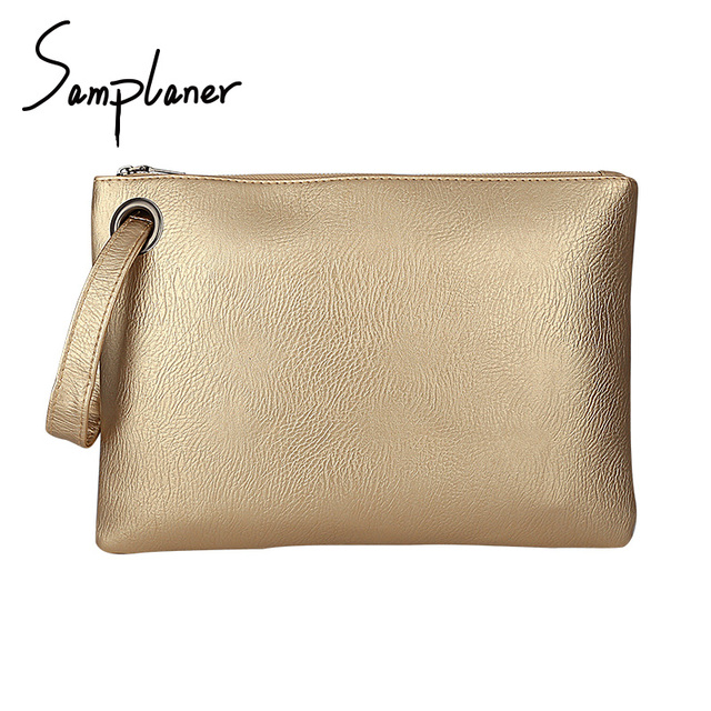 66144325fc8c US $9.59 35% OFF|Samplaner Luxury Gold Clutch Bags For Women Envelope Bag  Leather Female Wristlets Bag Big Capacity Solid Ladies Working Clutches-in  ...