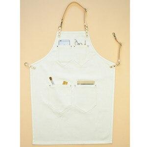White Denim Canvas Apron Cowhide Leather Strap Barista Bartender Baker Chef Uniform Florist Barber Painter Artist Work Wear K16
