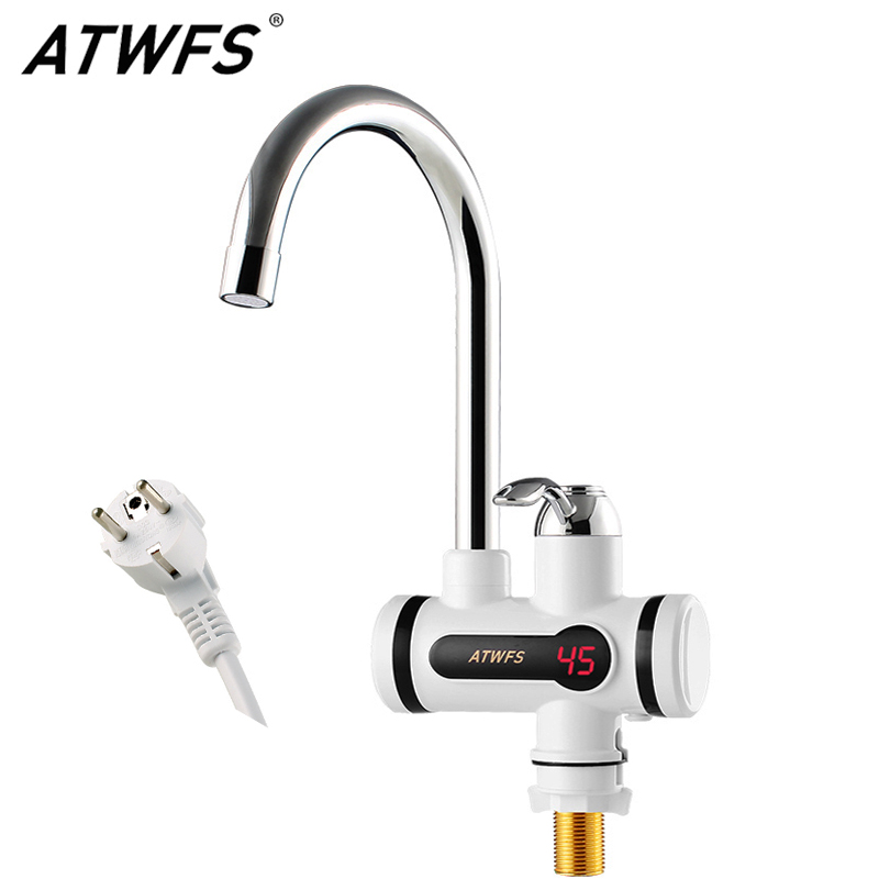 ATWFS Electric Kitchen Water Heater Tap Instant Hot Water Faucet Heater Cold Heating Faucet Tankless Instantaneous Water Heater