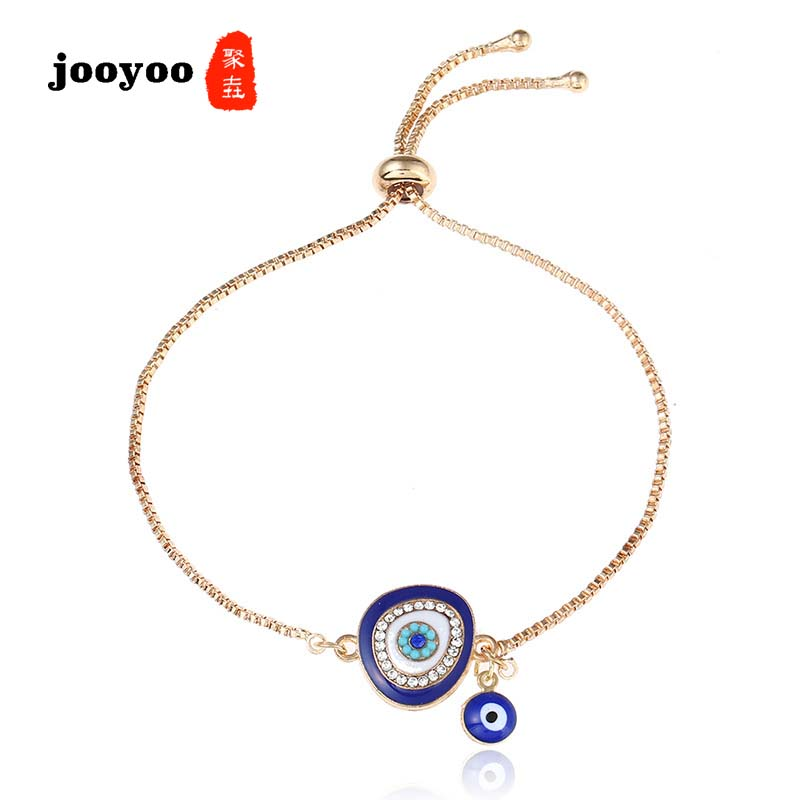 Creative Five Hollowed-out Pendants Knit Devil Eyes Vinage Golden Bracelets For Women Jewelry & Accessories