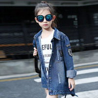 2017 High qualit Baby girl Coat fashion coat for girls Autumn winter kids letter lapel outerwear Children Clothes 3-12 years old