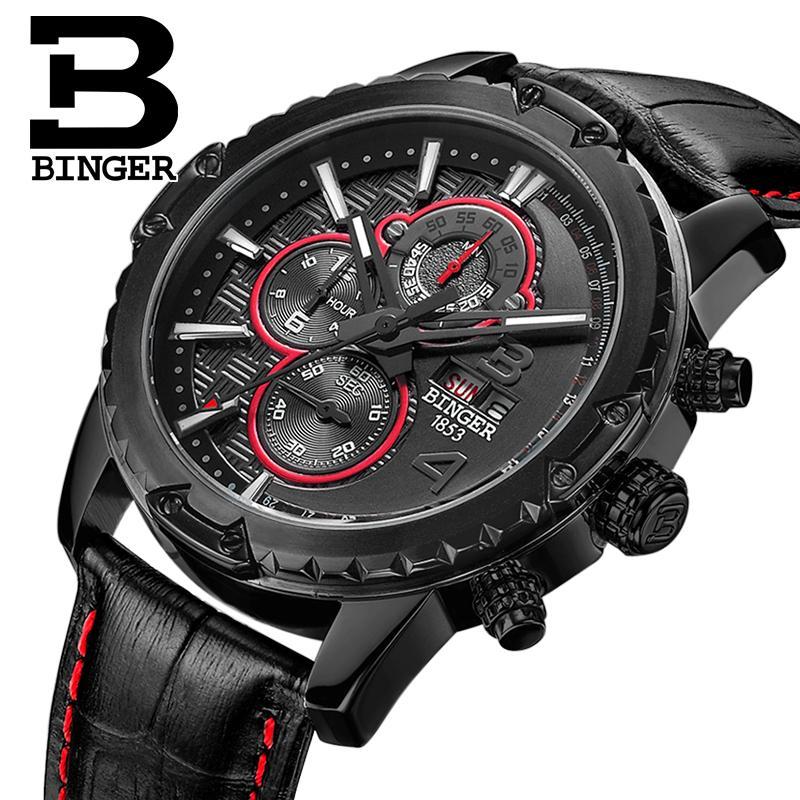 Suiza relojes hombres marca de lujo reloj BINGER cuarzo reloj de los - Relojes para hombres