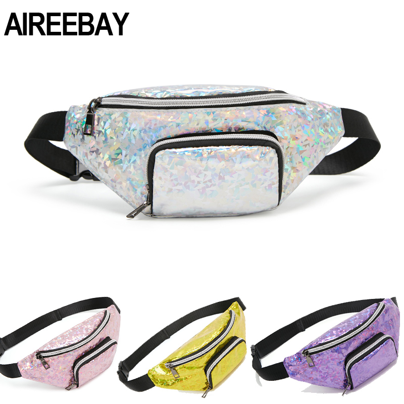 AIREEBAY Hologram PU Leather Fanny Packs Chest Bag For Women Pink Zipper Waterproof Belt Bags Mini Laser Waist Pack Handbags