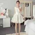 Summer dress blanco mini dress dress 2017 nuevo de las mujeres sin mangas Cintura delgada Para La Muchacha Con El Arco Señoras Reina Ropa Bola vestido