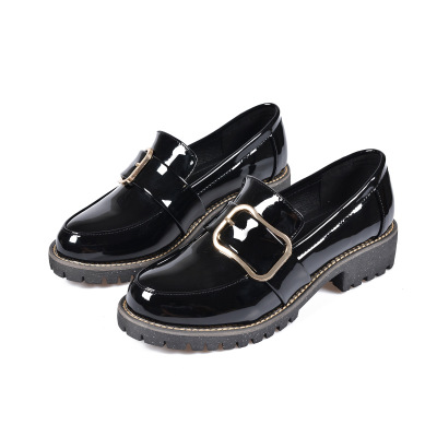 Dropshipping Women Flats Shoes Casual Leather  Round Toe Women Creepers Shoes Oxfords Platform Shallow Slip on Plus Size 35-42 nayiduyun women genuine leather wedge high heel pumps platform creepers round toe slip on casual shoes boots wedge sneakers