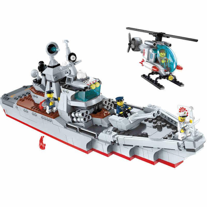539pcs Children s building blocks toy Compatible city Battlefield series military warship model destroyer attack Bricks