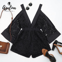 AZULINA Sexy Lace Hollow Out Romper Jumpsuit Women Deep V Neck Cold Shoulder Cut Out Playsuit