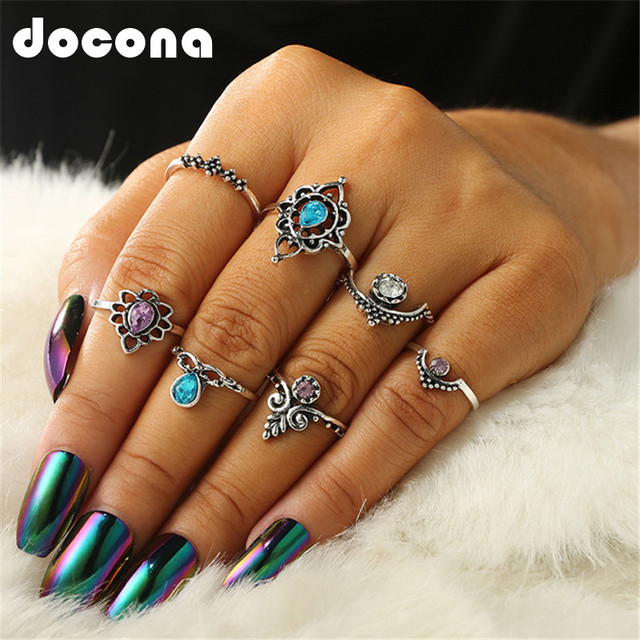 docona 7pcs/Set Vintage Antique Silver Color Opal Stone Carving Rings for Women