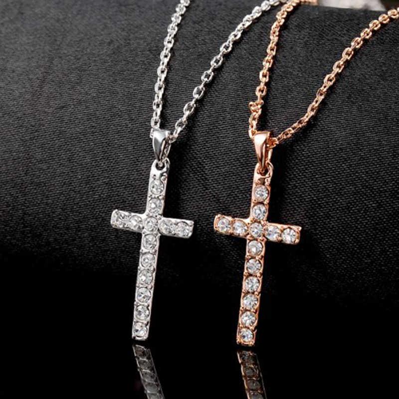 ROXI Мода крест подвески и ожерелье для женщин цепь из розового золота колье femme Кристалл ожерелье горный хрусталь ювелирные изделия 2017
