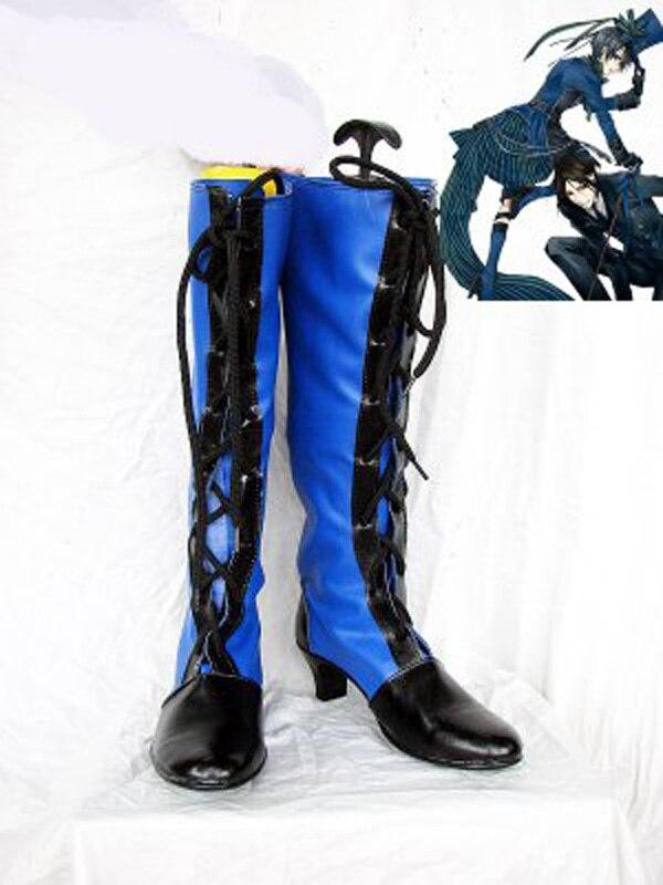 Черный Батлер ciel черный и синий Кружево со шнуровкой ботинки для костюмированной вечеринки Обувь Аниме партии Косплэй show Сапоги и ботинки д...