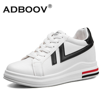 ADBOOV New Platform Sneakers Women PU Leather Wedges Shoes Woman 7 Cm Height Increasing Shoes Casual