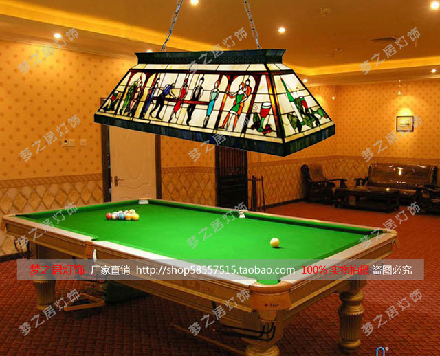Continental Tiffany Billiards Pool Hall Lighting Colored Gl