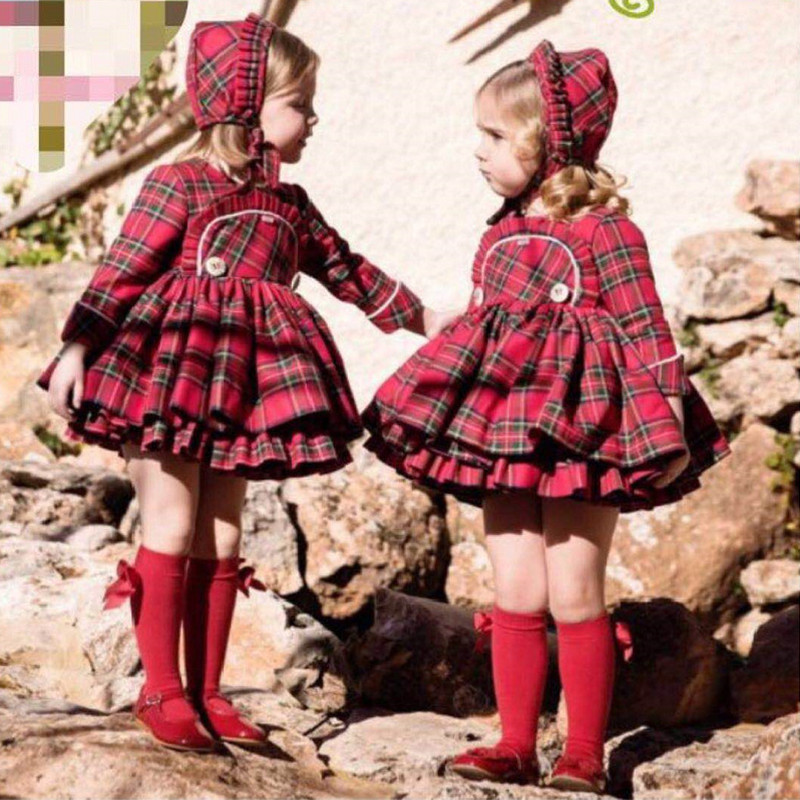 2018 Christmas Dress for Girls Spain Princess Brithday Party Red Plaid Baby Dress Long Sleeve Kids Clothes England Robe Fille plaid long sleeve belted midi dress