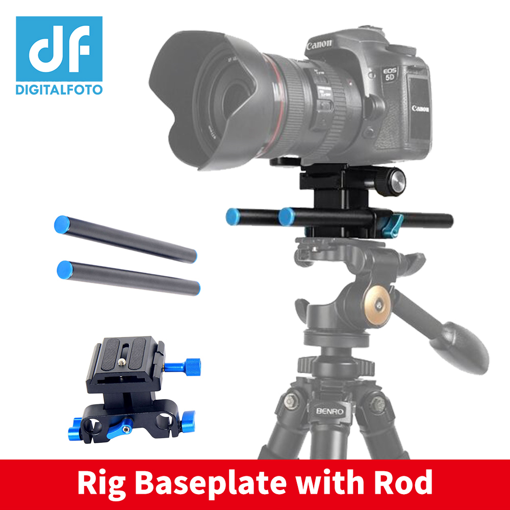 цена DF DIGITALFOTO 15mm Rig Rail Rod Support System Baseplate Mount for Camera DSLR Follow Focus Rig 5D2 5D 5D3 7D