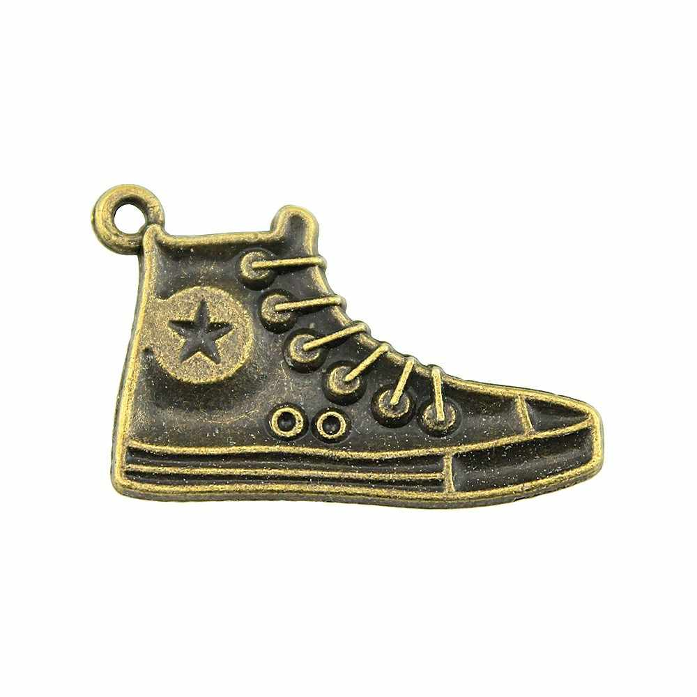 5 шт., подвески для обуви, 2 цвета, античные бронзовые, античные, серебристые, Спортивные Подвески для обуви, подвески для бега, для изготовления ювелирных изделий, 30 мм