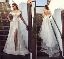 Romantic Lace Princess Wedding Dress Backless Spaghetti Straps Short Sleeve Bridal Gown With Tulle Train See Through