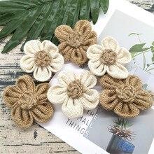 5 unids/lote hecho a mano arpillera flores arpillera vintage yute rústico materiales de decoración para boda color Natural Shabby Chic 62493