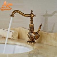 Euro Style Antique Brass Basin Faucet Bathroom Vessel Sink Tap Single Lever Mixer Tap Deck Mount