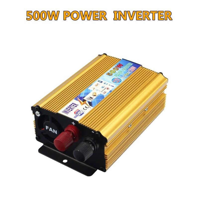 Transformateur de tension Portable véhicule voiture onduleur 500W DC 12V à AC 220V interrupteur d'alimentation convertisseur de bord adaptateur USB