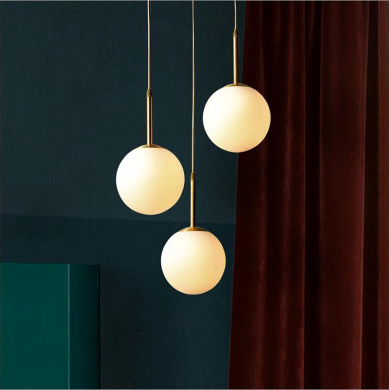 LukLoy Modern Glass Ball Pendant Light Bedside Hanging Lamp Kitchen Island Lighting Fixture Nordic Loft CE Suspension Ball Lamp