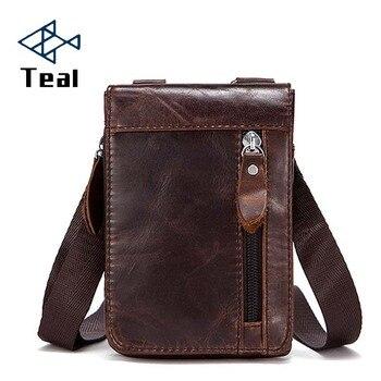 Genuine Leather Male Waist Packs Belt Bags Small Messenger Shoulder Men Phone Pouch Card Holder Key Case