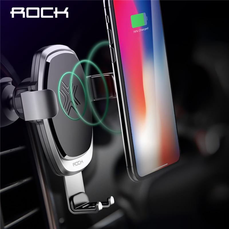 10 W QI inalámbrico cargador de coche la gravedad del ROCK para iPhone X 8 Plus Samsung Galaxy S8 S7 Nota 8 rápido de carga de soporte