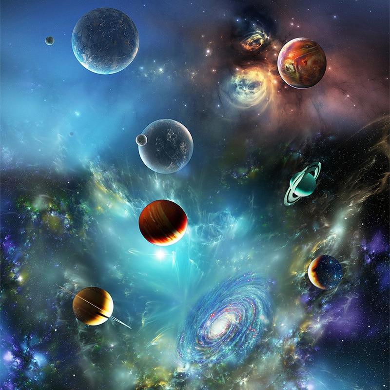 Ceiling Mural Modern 3d Universe Planet Photo Wallpaper Living