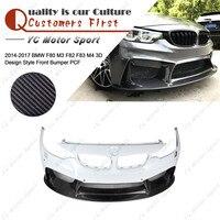 Acessórios do carro De Fibra De Vidro FRP Carbono 3D D Estilo Front Bumper Apto Para 2014-2017 F80 M3 F82 F83 m4 Front Bumper Capa