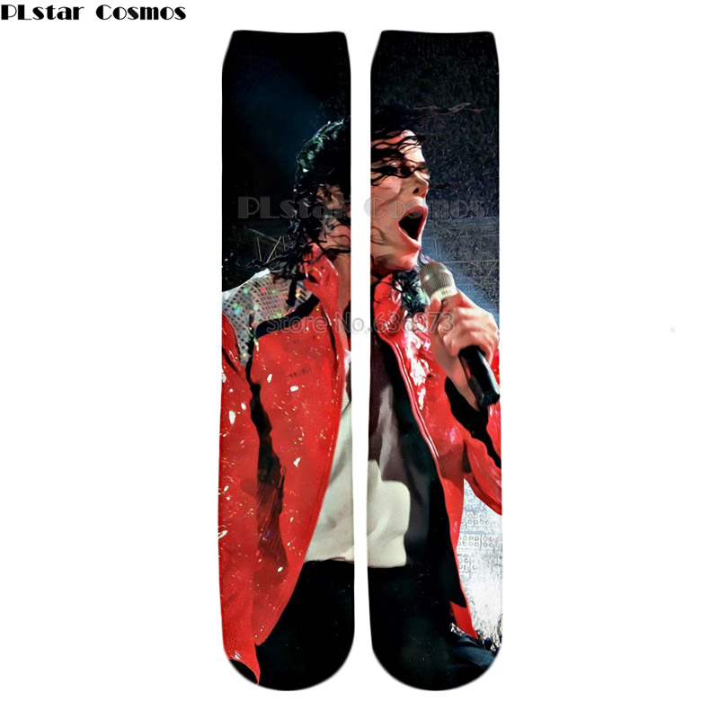 PLstar Cosmos 2018 New Hip hop style Knee High Socks King of Pop Michael Jackson characters Print 3d Men's Women's Casual Sock 1