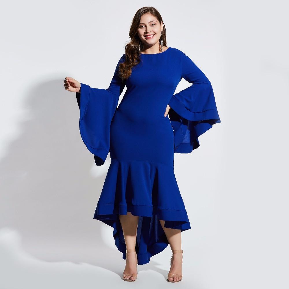 Plusee plus size 4xl women summer dress trumpet bodycon dress blue falbala flare sleeve elegant fashion autumn sexy ladies dress