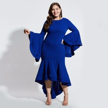 Plusee plus size 4xl women summer dress trumpet bodycon blue falbala flare sleeve elegant fashion autumn sexy ladies