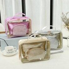 3pcs/set Travel Makeup Bag Women Cosmetic Organizer Storage Beauty Case Make Up Kit Purse Wash Pouch Free Shipping