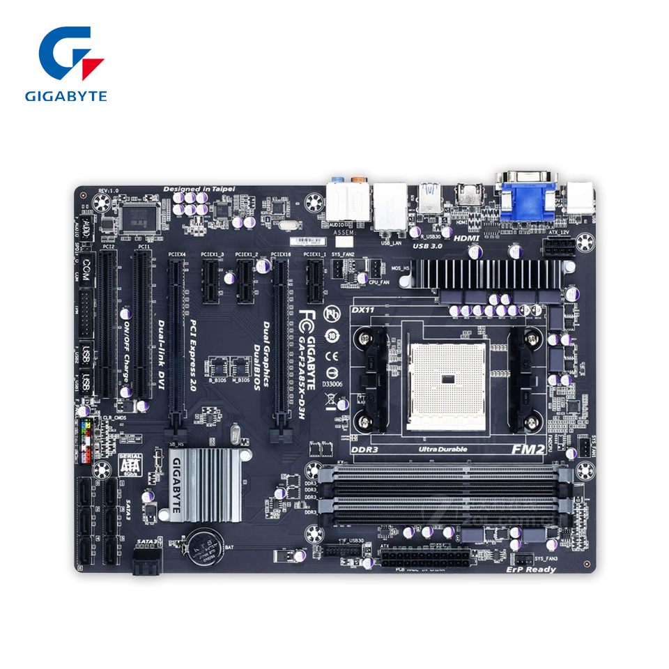 Gigabyte GA-F2A85X-D3H Original Used Desktop Motherboard F2A85X-D3H A85X Socket FM2 DDR3 SATA3 USB3.0 ATX gigabyte ga 8i945plg original used desktop motherboard 945 lga 775 ddr2 atx