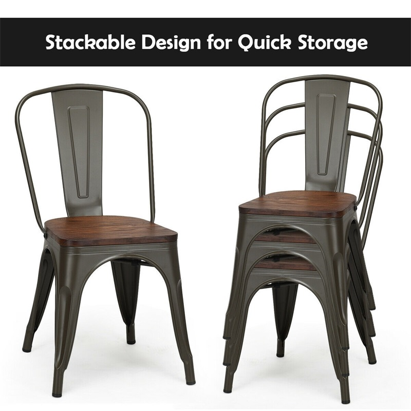 Set of 4 Stackable Metal Wood Dining Chair Heavy-load Iron Frame 4 Rubber Feet heavy-load Iron Frame and Stable Legs HW58611