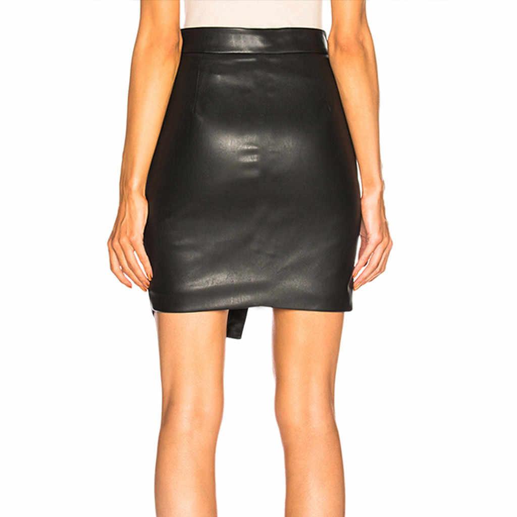 PU асимметричная юбка миди Модные женские черные крест открытый вилка Bodycon Короткий Повседневный из кожзаменителя мини юбка Прямая доставка