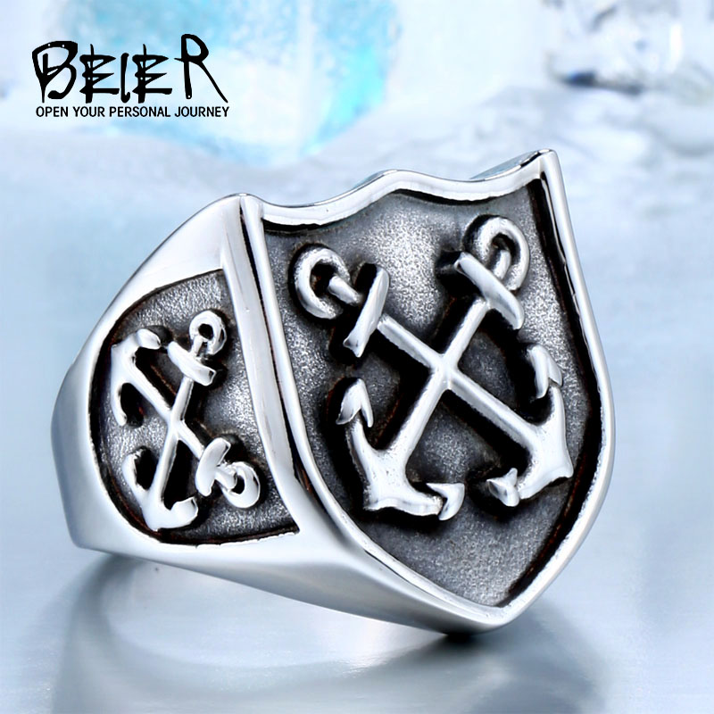 BEIER One Piece Försäljning Stainless Punk Movie For Man Högkvalitativ Titanium Steel Boy Cool Drop Shipping Biker Ring BR8-324