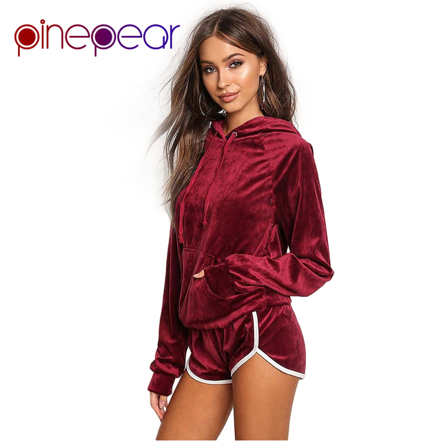 50513679 PinePear Tracksuit 2019 Winter Women Velvet Hoodie Sweatshirt and Shorts 2  Piece Set Outfit Wine Red Army Green Sporting Suit