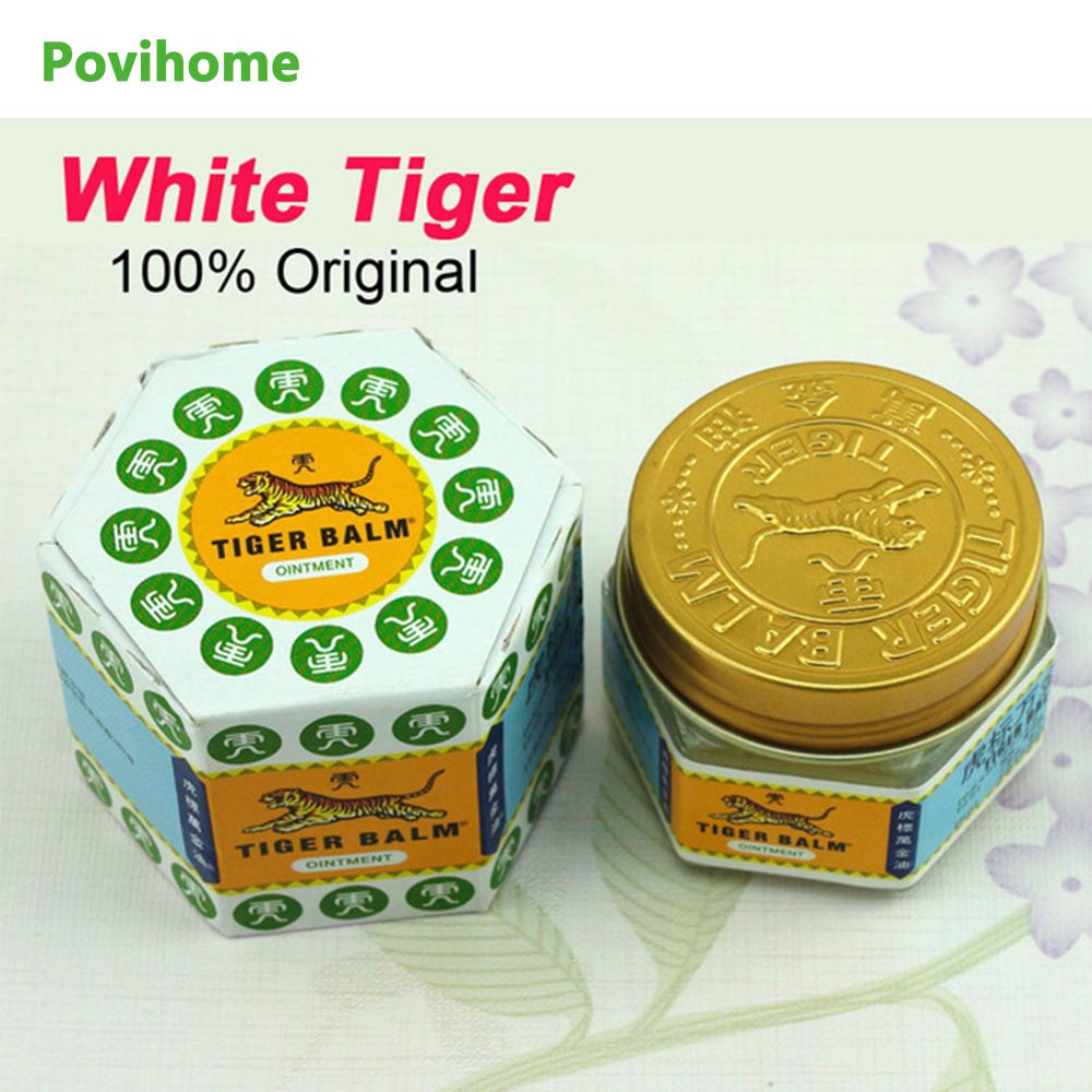 Povihome 100% Natural Original White Tiger Balm Ointment Pain Killer Ointment Muscle Pain Relief Health Care Ointment C102 1 bottle green herb balm thailand healthy anti mosquito bite skin care headache pain relief medcine l3