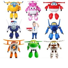 8PCS/Set NEW Super Wings Mini Airplane ABS Robot toys Action Figures Wing Transformation Jet Cartoon Children Kids Gift