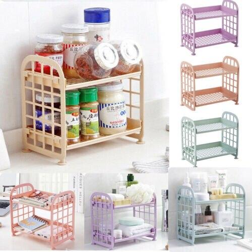 Estantes de almacenamiento de plástico 2 niveles independiente unidad duradera interior garaje cocina baño vestidor baño suministros estantes de plástico