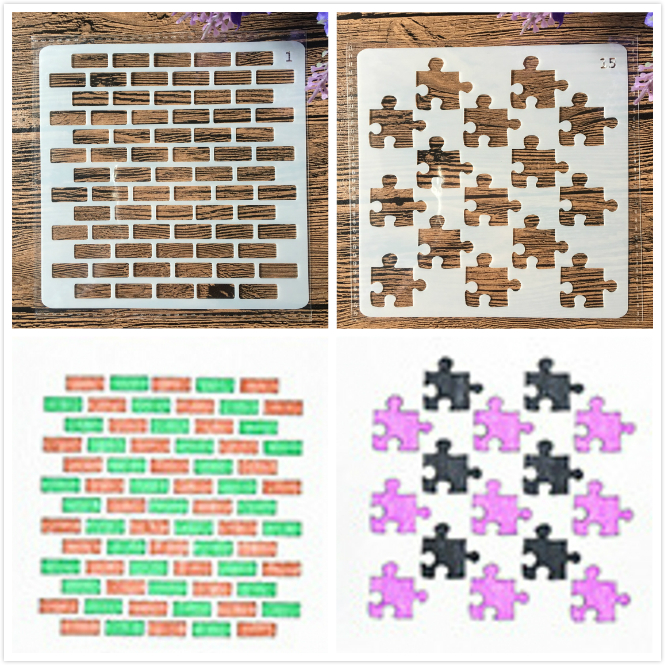 1Pair 13cm Brick Wall Jigsaw Puzzle DIY Craft Layering Stencils Painting Scrapbooking Stamping Embossing Album Paper Template