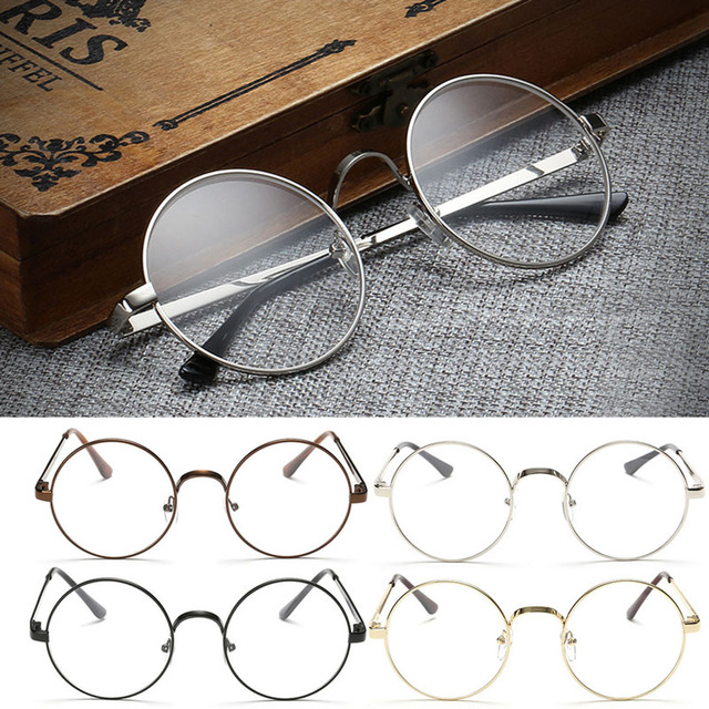 2e73cd09724 Vintage Gold Oval Eyeglass Frame Man Women Plain Glass Clear Full-Rim  Spectacles