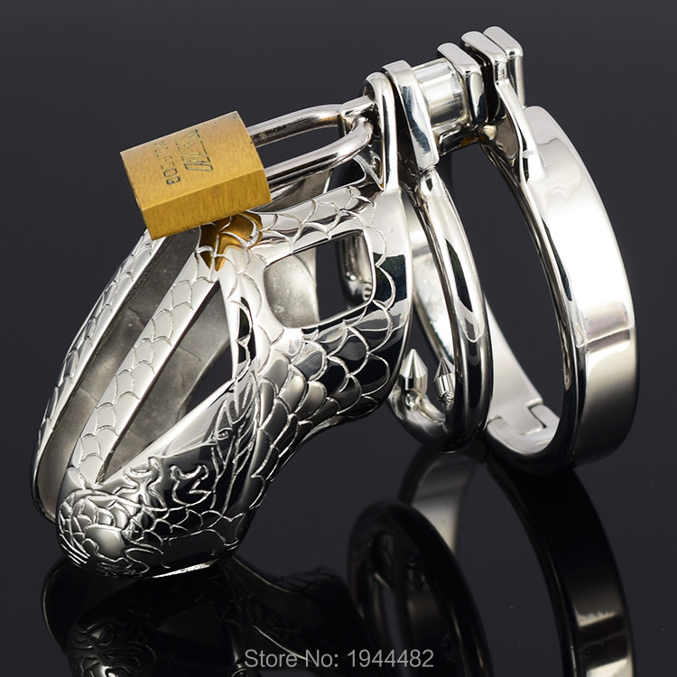 SODANDY Small Chastity Device Stainless Steel Cock Cage Metal Male Chastity Belt Penis Ring Bondage Sex Toys Dragon Totem Lock 3