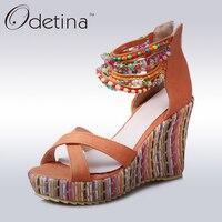 Odetina 2017 Yeni Moda Kadınlar Bohemia Sandalet Takozlar Topuk Platformu Sandalet Dize Boncuk Tatlı Ayak Bileği Wrap Çizgili Yaz Ayakkabı